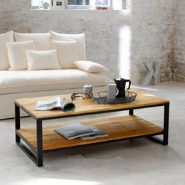 American Country To Do The Old Wood Upscale Living Room Coffee Table Solid Wood Furniture Wrought Iron Casual Custom Rectangul