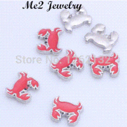 Coin Bracelet Jewelry Wholesale Canada - 2015 New Arrival Fashion Christmas Charms Crab Floating charm Fits Lockets For Women Jewelry charm bracelet jewelry box