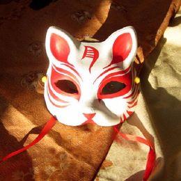 $enCountryForm.capitalKeyWord Canada - Half Face Hand-Painted Japanese Style Fox Mask Kitsune Cosplay Masquerade Moon Pattern for Party Halloween