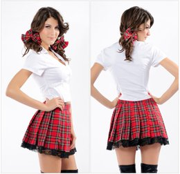 Alta Escuela Sexy Baratos-Red Grid Sexy Halloween Split Plaid Japón School Uniform Cosplay Chica traje Stage Performance Adulto Dancewear Scotticize de alta calidad