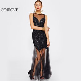 Barato Sexy Back Sheer Maxi-COLROVIE Malha Contraste Sequin Maxi Vestido Illusion Decote Mulheres Preto Elegante Vestido 2017 Sexy Open Back Sheer Tank Dress q1113