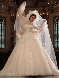 HigH quality cHapel veils online shopping - High Quality Full Lace Wedding Dresses Sweetheart Cathedral Train Tulle Satin Wedding Dress With Veil Ball Gown Elegant Wedding Gowns