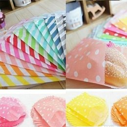 Dots Gift Paper Canada - 1200pcs (25pcs opp bag) Wedding Chevron Dot Stripe food Paper Bags biodegradable food bag Candy Paper Goods Bag kraft bags #Y248