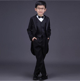 Black Blocks Canada - 2018 new children's boy pioneer suit for 3 sets of boys wedding dress single-breasted official color block boy with tail bow set
