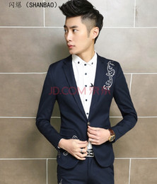 Wedding Dress Authentic NZ - Authentic men embroidery suit suits the new best man wedding dress business casual dress suit city boy cultivate one's morality