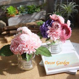 Blue Dahlias Canada - 5Colors! Korean Peony Dahlia Bouquet Home Decoration Flower Artificial Silk Simulation Bouquet For Home Decor GF16399