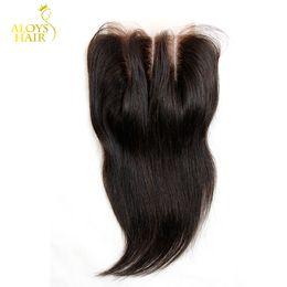 6a Straight Hair NZ - Peruvian Lace Closure Unprocessed Peruvian Straight Virgin Human Hair Closure Free Middle 3 Part Closure Grade 6A Peruvian Lace Top Closures