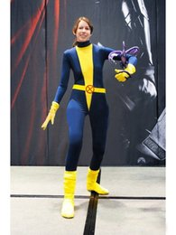 Costume Spandex Jaune Pas Cher-Blue Yellow Kitty Pryde Spandex Superhero Costume Halloween Party Cosplay Zentai Suit