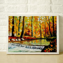 $enCountryForm.capitalKeyWord Canada - Autumn Woods Creek 100% Hand Painted Oil Thick Frameless Palette Knife Painting High Quality Canvas Decorative Painting JL207