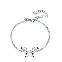$enCountryForm.capitalKeyWord NZ - Fashion Silver Plated Bowknot Butterfly Charm Bracelets for Women Silvery Jewelry Bracelet Party Gift Sweet & Elegant Jewelry Hot New Style