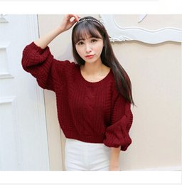 dfcb8d3f91ba9c white cropped sweater 2019 - Wholesale-Women New Arrival Crop Sweater  Vintage Twist Knitted Sweater