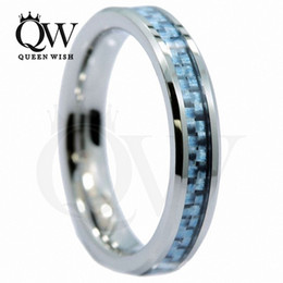 tungsten carbide fiber ring Canada - 4mm Blue Tungsten Rings Tungsten Carbide Wedding Rings Unisex Ladies Inlay Blue Fiber Statement Couple Rings Jewelry Sets Fashion Jewelry