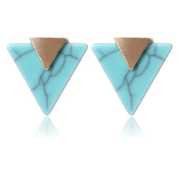 China Minimalist Geometric Triangle Stud Earrings Gold Color Piercing Marble Earring For Women Pending Jewelry Brincos Femme art deco suppliers