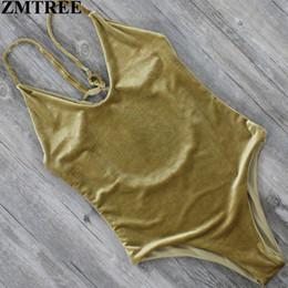 ladies lycra swimwear 2018 - Wholesale- ZMTREE 2017 Newest Velvet Swimsuit Women Swimwear One Piece Swimsuit Backless Monokini Bathing Suit Beachwear