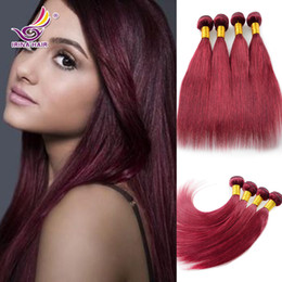 Remy Human Straight Hair Bundles Canada - 7A European Virgin Hair 4pcs lot 99J straight Burgundy Hair Weaving human hair extensions wine red virgin remy hair bundles Free shipping