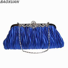 handbags 17 Canada - Wholesale-17 Colors Womens Vintage Clutch Handbag Cocktail Evening Bag Satin Day Clutches Purse Pleated Bride Wedding Party Bags 20316