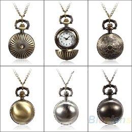 $enCountryForm.capitalKeyWord Canada - 5 Colors Antique Retro Vintage Ball Metal Steampunk Quartz Necklace Pendant Chain Small Pocket Watch For Gift 00V9