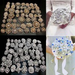 Ingrosso Commercio all'ingrosso -24Pcs x spille di cristallo di strass argento oro colori spilla spille da sposa arredamento da sposa