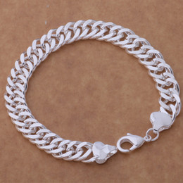 Sterling Silver Figaro Bracelet NZ - HOT 925 STERLING SILVER PLATED 10MM MEN'S FIGARO BRACELETS Silver Bracelet JEWELRY free shipping with traching number 1800