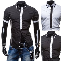 White Shirts Styles Designs For Men Australia - Wholesale-2016 Summer Shirt New Style Design Short Sleeve Shirts For Man Solid Black&White Dress Shirts Casual Size M-XXL SC09