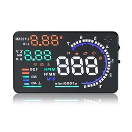 Head Hud online shopping - 5 quot Large Screen Car HUD Head Up Display with OBD2 Interface Plug Play A8 Car HUD Display CAL_400