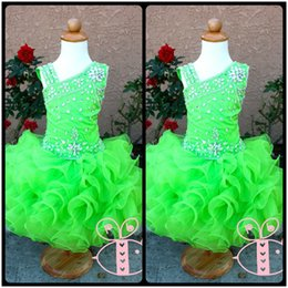 Cute Yellow Cupcakes Canada - Modern Green Pageant Glitz Cupcake Pageant Dress Ruched Beaded Organza Cute Toddler Pageant Ball Gown Dresses