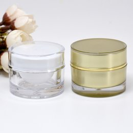 acrylic cosmetic jar white 2018 - 10g 15g 20g Round Acrylic Jar White Gold Jar Container Empty Cream Jar Plastic Cosmetic Packaging Bottle F20172327 cheap