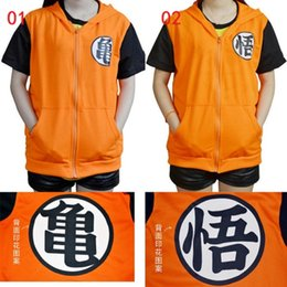 Short Sleeved Hoodies Canada - 10pcs DHL 2 Styles New Dragon ball Z Son Goku Cosplay Costume Short sleeved Hooded T-shirt Sweatshirt Unisex Hoodie zipper Cardigan Jacket
