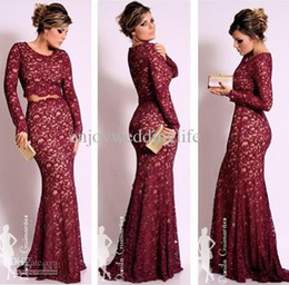 two piece celebrity red carpet dresses 2019 - Custom Made Crew Neck Illusion Lace Long Sleeves Sheath Mermaid Two Pieces Floor Length Bridal Prom Evening Dresses 2015