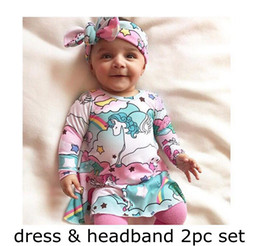 Tenue Bébé Fille Bleue Pas Cher-Licorne Bébé Fille INS robe Avec Bandeau À Manches Longues Full Rainbow Imprimé Robe Bandeau 2 pcs Vêtements Ensembles Toddler Filles Desses Tenues