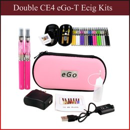 Wholesale Ego T Clearomizer Canada - Double eGo-T CE4 E Cigarette Kits Packaged by Zipper Case with 650 900 1100mAh Battery and 1.6ml CE4 clearomizer Hot Sale (0212002)