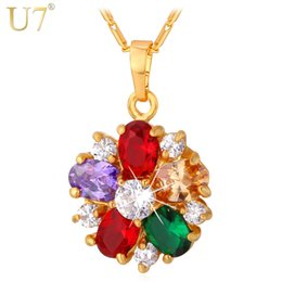 faded gold chain 2019 - U7 Women's 2015 New Necklace luxury Fashion non-fading Cubic Zirconia 18K Real Gold  Platinum Plated Charm Pendant
