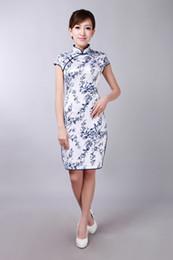 Ingrosso Elegante Stampa Cheongsam cinese Colletto alto Cappato maniche corte Vestiti cinesi Mini vestito da sera Split Short Side