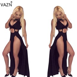 Deep V Top Black Club Baratos-VAZN Top Quality High Design 2017 Club vestido profundo con cuello en v Maxi vestido largo negro Sexy mujeres vestido del vendaje LS6002 q1118