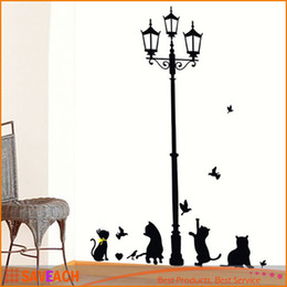 $enCountryForm.capitalKeyWord Canada - New Arrival Cat Wall Sticker Lamp and Butterflies Stickers Decor Decals for Walls vinyl Removable Decal wall Murals