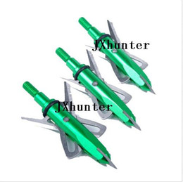 bow broadheads UK - 12pieces lot archery hunting broadheads 100 grain arrow heads 2 blades arrow points green color free shipping