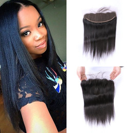 virgin hair closure bleached knots 2019 - Full Lace Frontal Closure With Baby Hair Virgin Malaysian Straight Human Hair Lace Frontals Bleached Knots G-EASY cheap