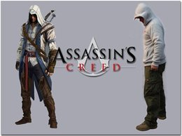 sweatshirt hoodie assassin's creed NZ - Newest Assassin Creed Jacket White Hooded Sweatshirt Anime Cosplay Hoodies Zipper Cotton Assassin's Creed Jacket Costume warm