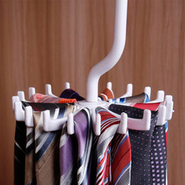 Portable closets wholesale online shopping - New Fashion Plastic Portable Tie Rack For Closets Rotating Hook Holder Belts Scarves Hanger For Men Women Clothing Organizer