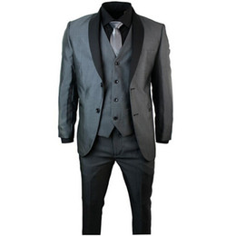 Gros-Fashion Design Mens châle revers smoking costume 3 pièce costumes Prom Party gris noir costumes de marié (veste + pantalon + gilet + cravate