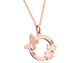 $enCountryForm.capitalKeyWord UK - Fashion Double Butterfly Necklace Chain Bone Chain Titanium Steel Rise Rose Gold Diamond Female Short Jewelry