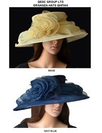 Wholesale Ascot Hats Canada - New arrival.wide brim organza hat bridal hats dress hat for wedding,party,melbourne cup,ascot races.navy blue,beige colour.
