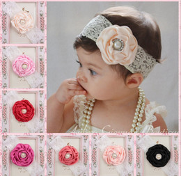 Solid boutique Style hair bowS online shopping - Baby Girls Pearl Lace Flower Headbands European Styles Kids hair bands headwear Children Hair Accessories Christmas boutique Party Gift