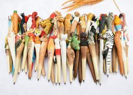 $enCountryForm.capitalKeyWord Canada - Wooden folk art animal carving new creative ballpoint pen,Animal shape ballpoint pen, animal carving wood pens, hand carved pen 1203#03