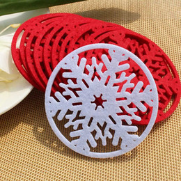 wholesale 6pcs lot christmas snowflake decoration placemats for table heat resistant cup coffee mat coaster placemat decoration 818