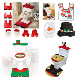 Discount cloth seats - 4 Styles 2017 Merry Christmas Decoration Santa Toilet Seat Cover & Rug Bathroom Set Best Christmas Decorations Gifts