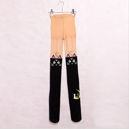 Bas De Spandex Blanc Pas Cher-Sailor Moon Collants Anime 20ème Anniversaire Cosplay Blanc / Noir Cat Luna Collants Leggings pour Femmes