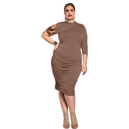 Europe and the United States women sexy dress solid color round neck big  size pack hip dresses pure color Irregular dress free shipping 348d97676264