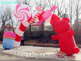 inflatable candy Canada - 19' Lovely Christmas Arch Inflatable Christmas Candy Arch with Bear Sweet Christmas Children Arch