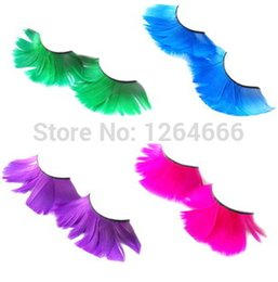 Plumas Magníficas Al Por Mayor Baratos-Eyelashes20Pairs mayor-Falsos Gorgeous Party exageración pluma Pestañas maquillaje